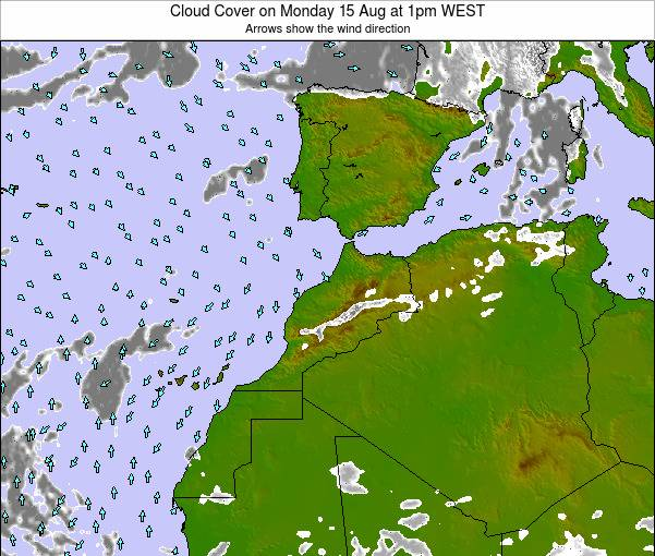 Morocco Cloud Cover on Saturday 27 Jan at 6am WET map