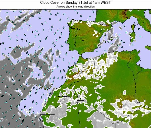 Morocco Cloud Cover on Saturday 25 May at 6pm WET