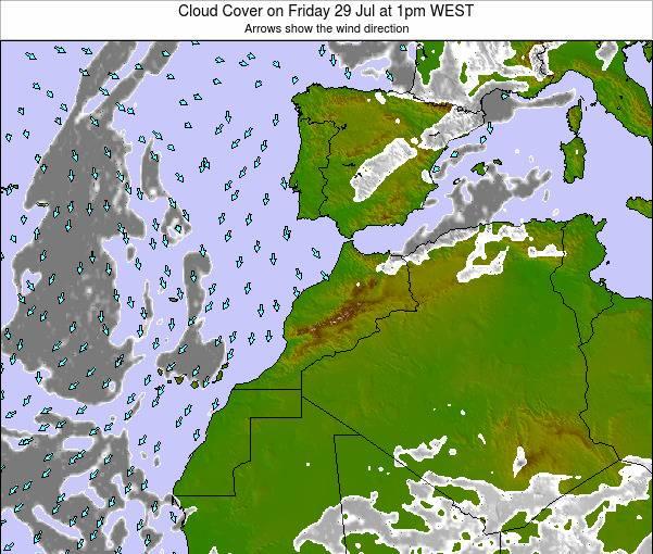 Morocco Cloud Cover on Wednesday 29 May at 6am WET