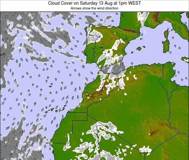 Morocco Cloud Cover on Tuesday 27 Feb at 12am WET map
