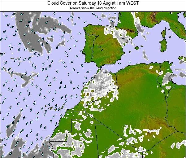 Morocco Cloud Cover on Wednesday 27 Jun at 1pm WEST map