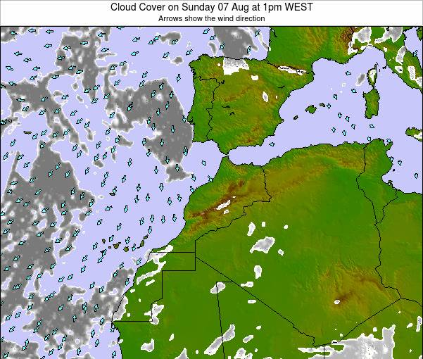 Morocco Cloud Cover on Wednesday 23 Jul at 12am WET