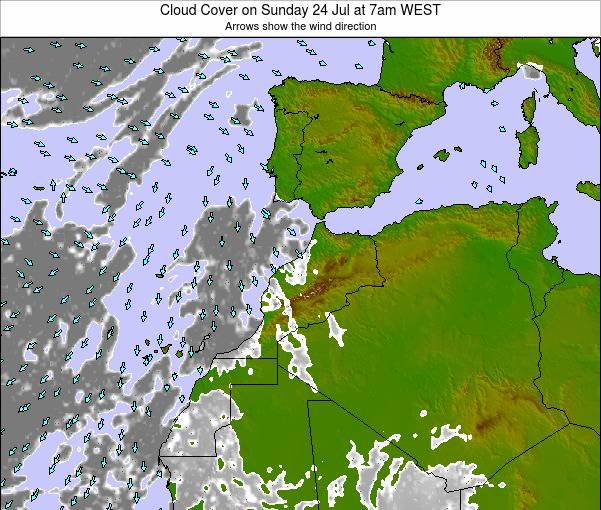 Morocco Cloud Cover on Saturday 08 Mar at 6pm WET