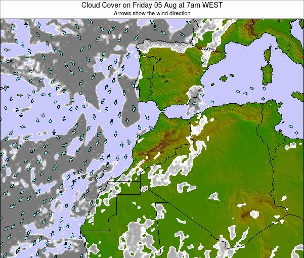 Morocco Cloud Cover on Friday 29 May at 1pm WEST
