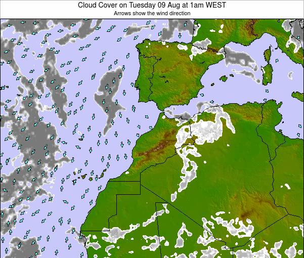 Morocco Cloud Cover on Thursday 21 Jun at 1pm WEST map