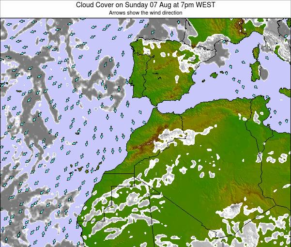 Morocco Cloud Cover on Sunday 25 Feb at 6am WET map