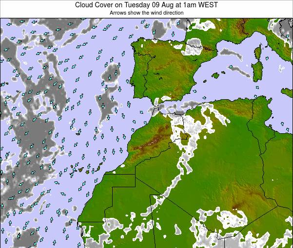 Morocco Cloud Cover on Saturday 14 Dec at 6pm WET