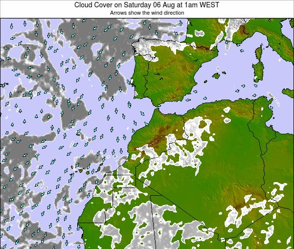 Morocco Cloud Cover on Tuesday 11 Mar at 12am WET