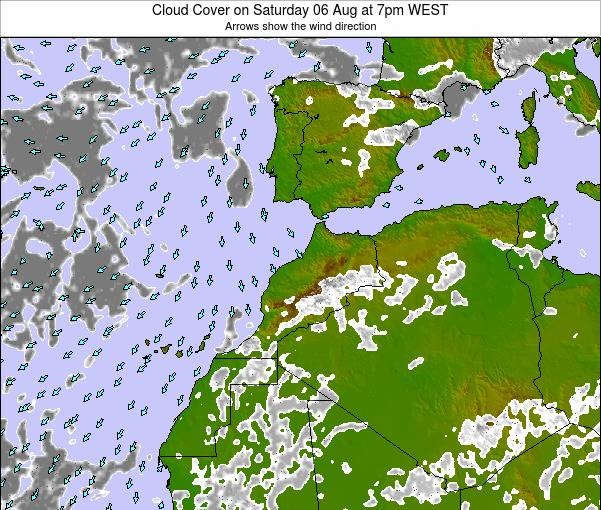 Morocco Cloud Cover on Sunday 19 Apr at 12am WET
