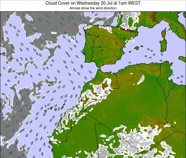 Morocco Cloud Cover on Friday 18 Apr at 12am WET