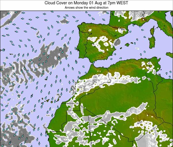 Morocco Cloud Cover on Saturday 02 Aug at 1am WEST