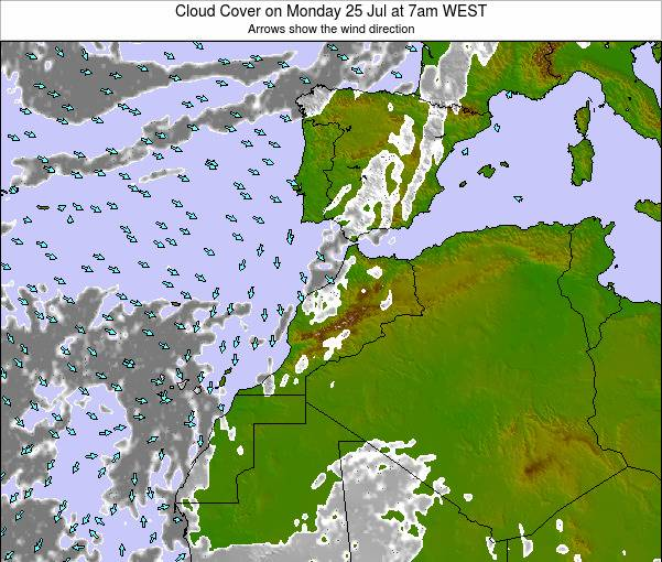 Morocco Cloud Cover on Wednesday 01 Oct at 6pm WET