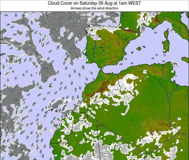 Morocco Cloud Cover on Wednesday 14 Oct at 7am WEST