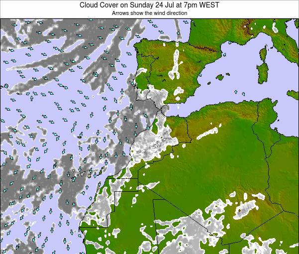 Morocco Cloud Cover on Friday 14 Mar at 12am WET