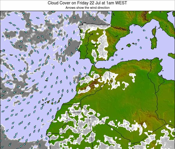 Morocco Cloud Cover on Sunday 26 May at 12am WET