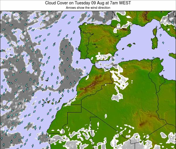 Morocco Cloud Cover on Sunday 03 Aug at 1pm WEST