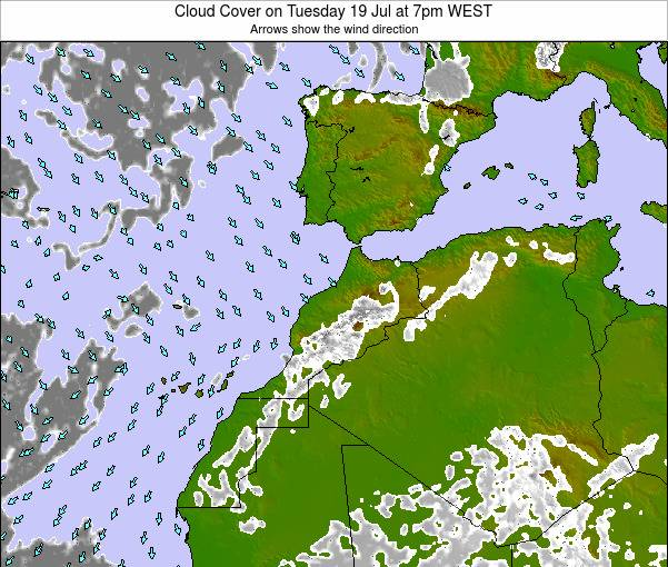 Morocco Cloud Cover on Tuesday 11 Dec at 6pm WET map