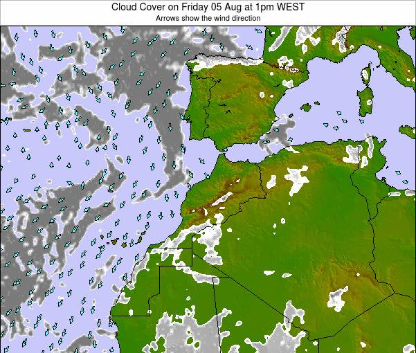 Morocco Cloud Cover on Wednesday 22 May at 12pm WET