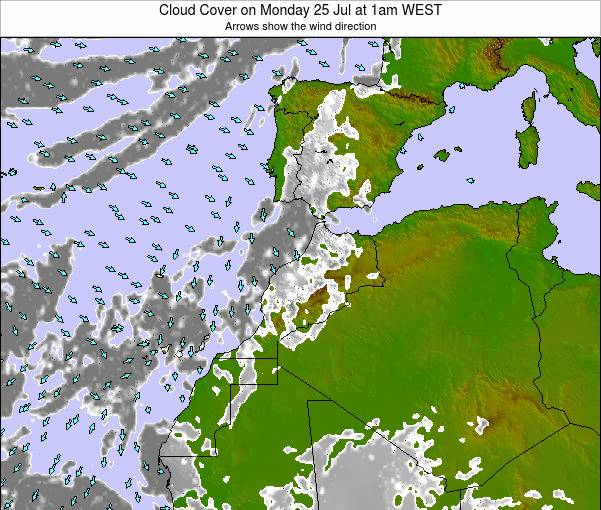 Morocco Cloud Cover on Thursday 23 May at 12am WET