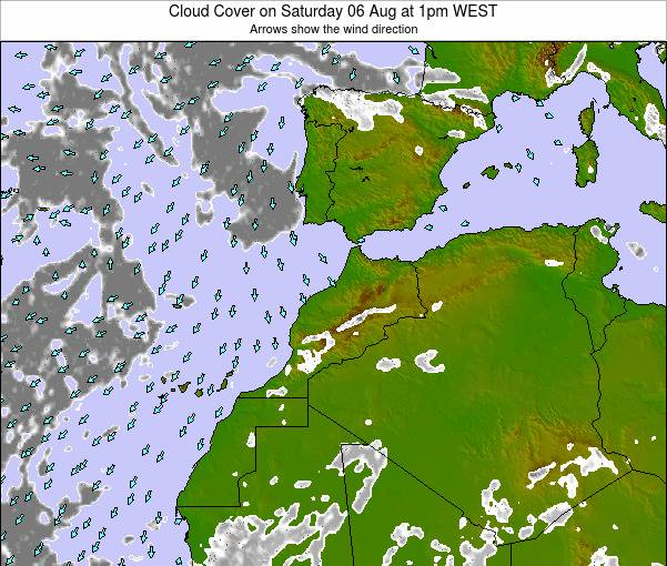 Morocco Cloud Cover on Saturday 19 Apr at 6pm WET