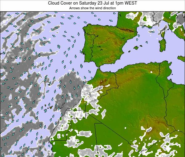 Morocco Cloud Cover on Monday 10 Mar at 12am WET