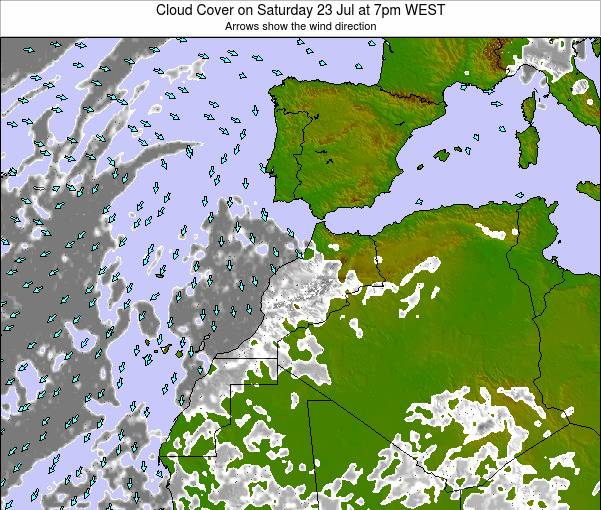 Morocco Cloud Cover on Wednesday 23 Apr at 12pm WET