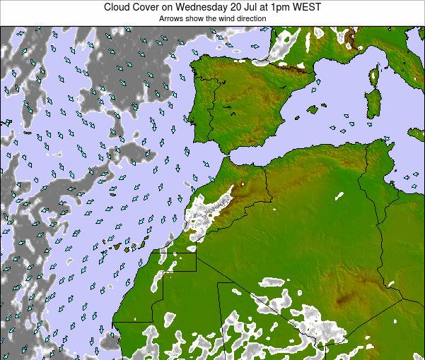 Morocco Cloud Cover on Wednesday 17 Oct at 1pm WEST map