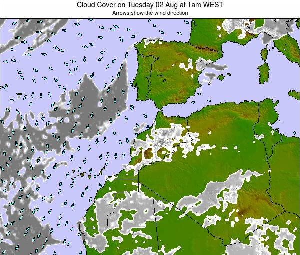 Morocco Cloud Cover on Wednesday 13 Dec at 6pm WET map