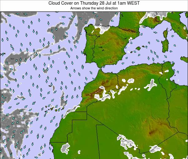 Morocco Cloud Cover on Wednesday 26 Nov at 6pm WET