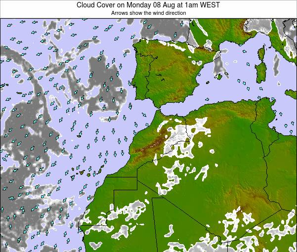 Morocco Cloud Cover on Monday 21 Apr at 12am WET