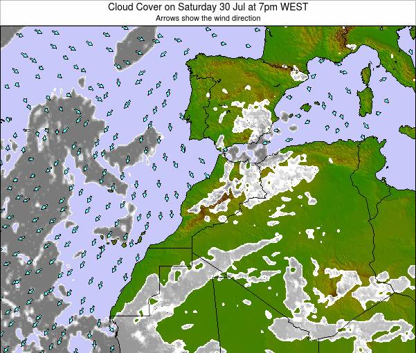 Reino de Marruecos Cloud Cover on Tuesday 26 Sep at 1pm WEST