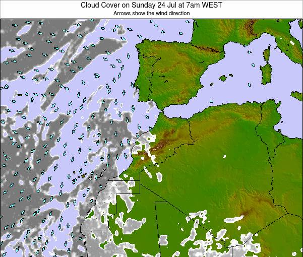 Morocco Cloud Cover on Tuesday 28 May at 12am WET