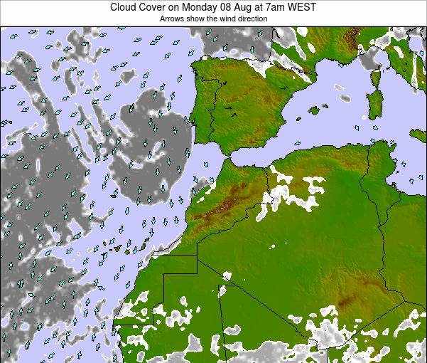 Morocco Cloud Cover on Saturday 26 Apr at 6pm WET