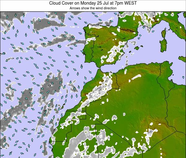 Morocco Cloud Cover on Friday 25 Jul at 12pm WET