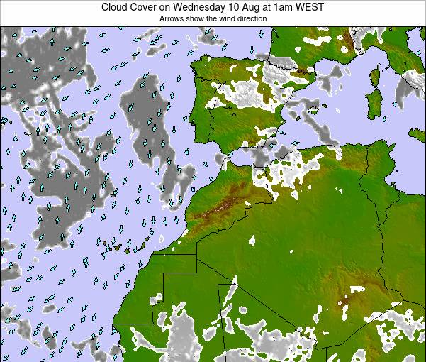 Morocco Cloud Cover on Saturday 21 Oct at 1am WEST