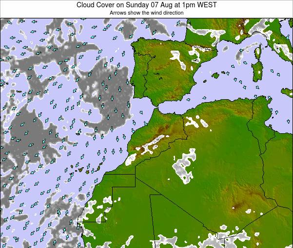 Morocco Cloud Cover on Friday 23 Aug at 1pm WEST map