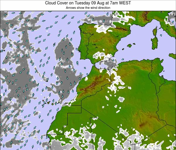 Morocco Cloud Cover on Saturday 26 Apr at 12am WET