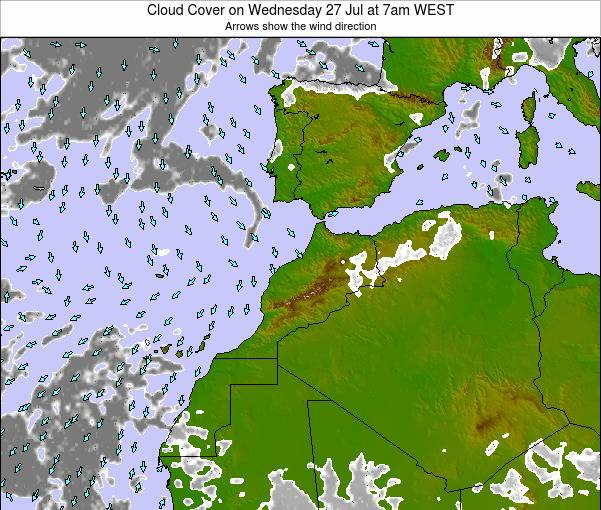 Morocco Cloud Cover on Monday 28 Jul at 6am WET