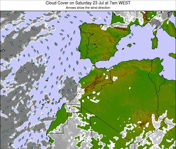 Morocco Cloud Cover on Sunday 21 Jul at 1pm WEST map