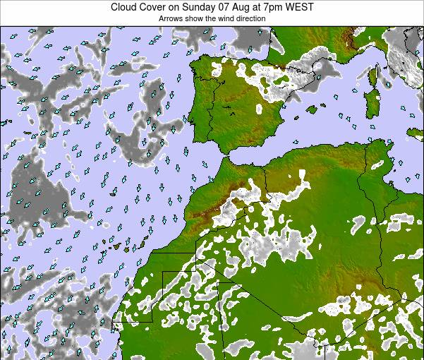 Morocco Cloud Cover on Tuesday 21 May at 6pm WET
