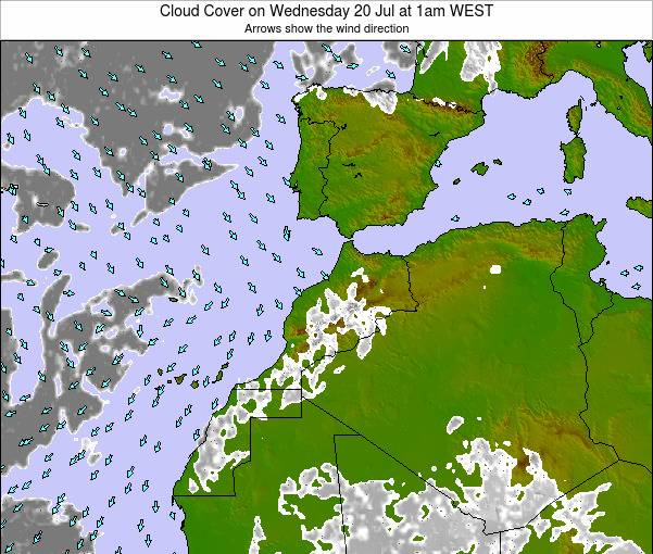 Morocco Cloud Cover on Friday 25 Jul at 6pm WET