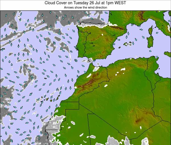 Morocco Cloud Cover on Friday 24 Apr at 12am WET