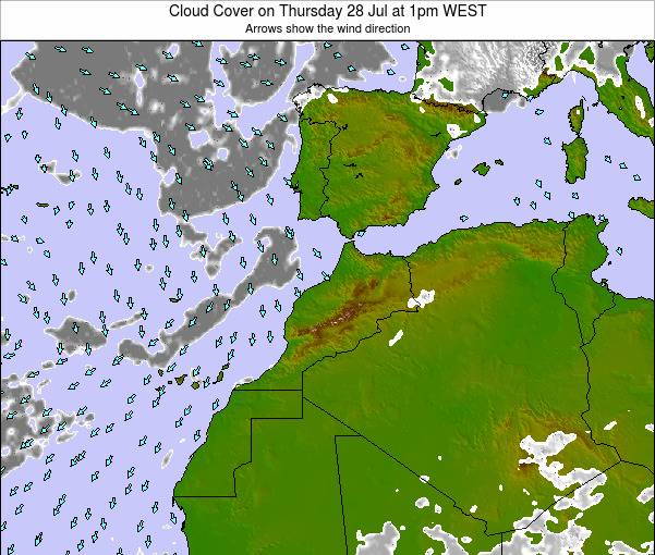 Morocco Cloud Cover on Saturday 26 Apr at 12pm WET