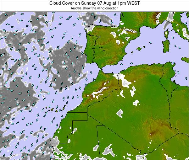 Morocco Cloud Cover on Thursday 24 Apr at 6am WET