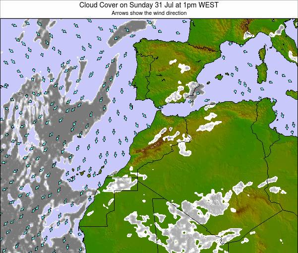 Morocco Cloud Cover on Tuesday 11 Mar at 12pm WET