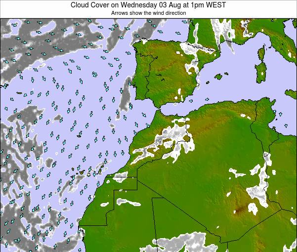 Morocco Cloud Cover on Sunday 24 Jun at 7pm WEST map