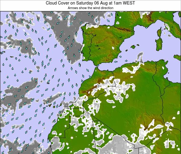 Morocco Cloud Cover on Tuesday 20 Aug at 7pm WEST map