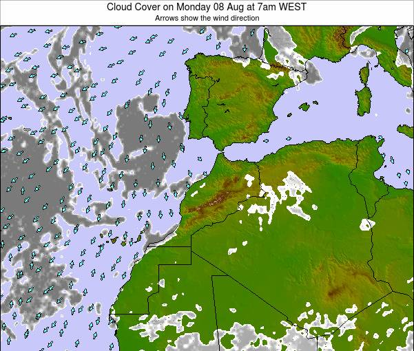 Morocco Cloud Cover on Sunday 26 May at 12pm WET
