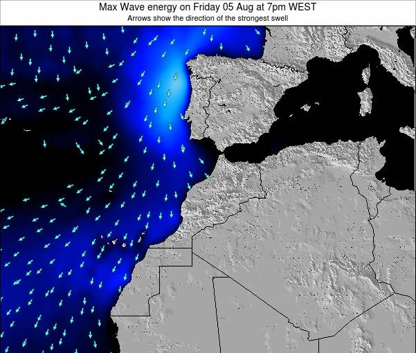 Morocco Max Wave energy on Tuesday 17 Dec at 6am WET