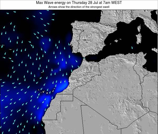 Morocco Max Wave energy on Monday 04 Aug at 7am WEST